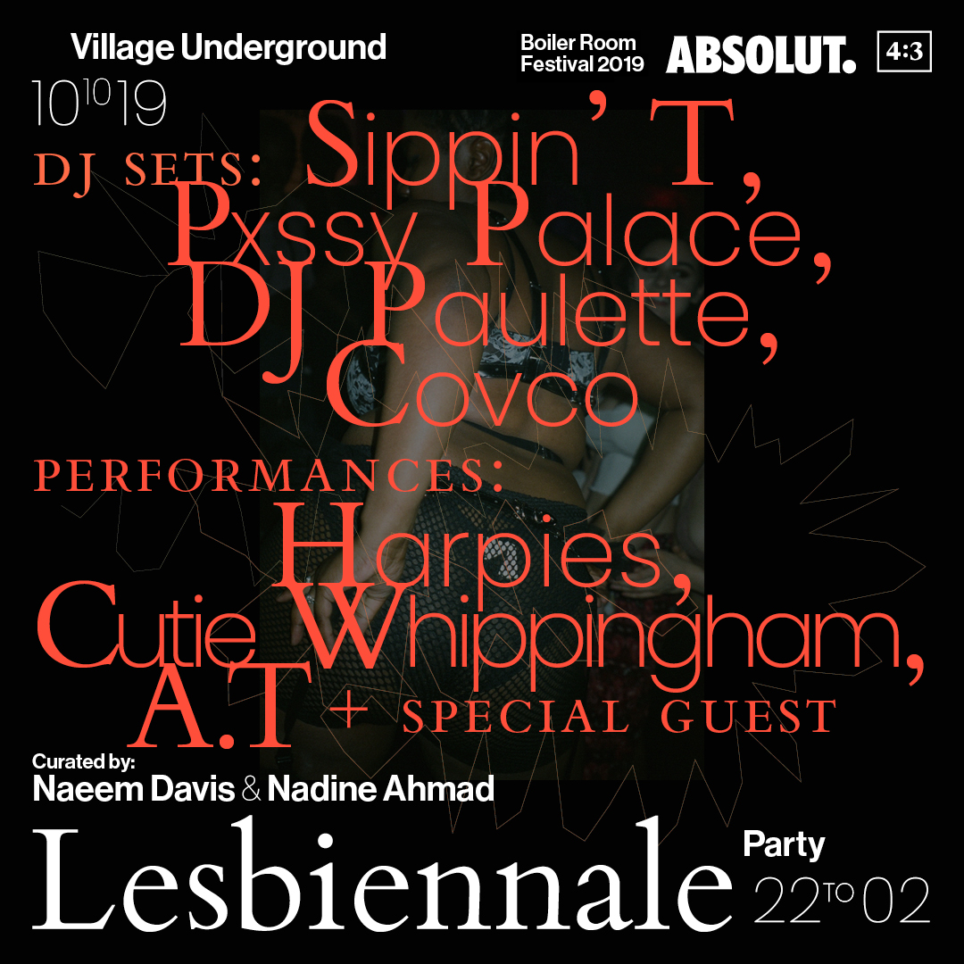 4:3 - LESBIENNALE 2019: Party Flyer Image